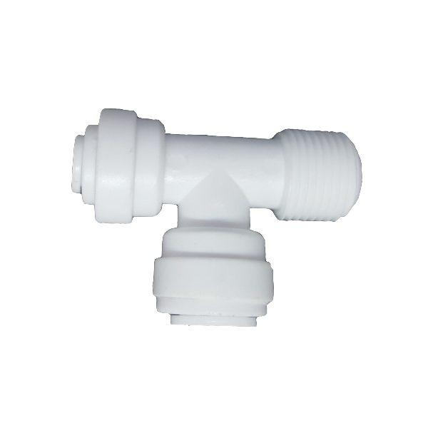 "DCC-008C Tee Male Adaptor 1/4"" Tube 3/8"" Tube 3/8"" Thread"